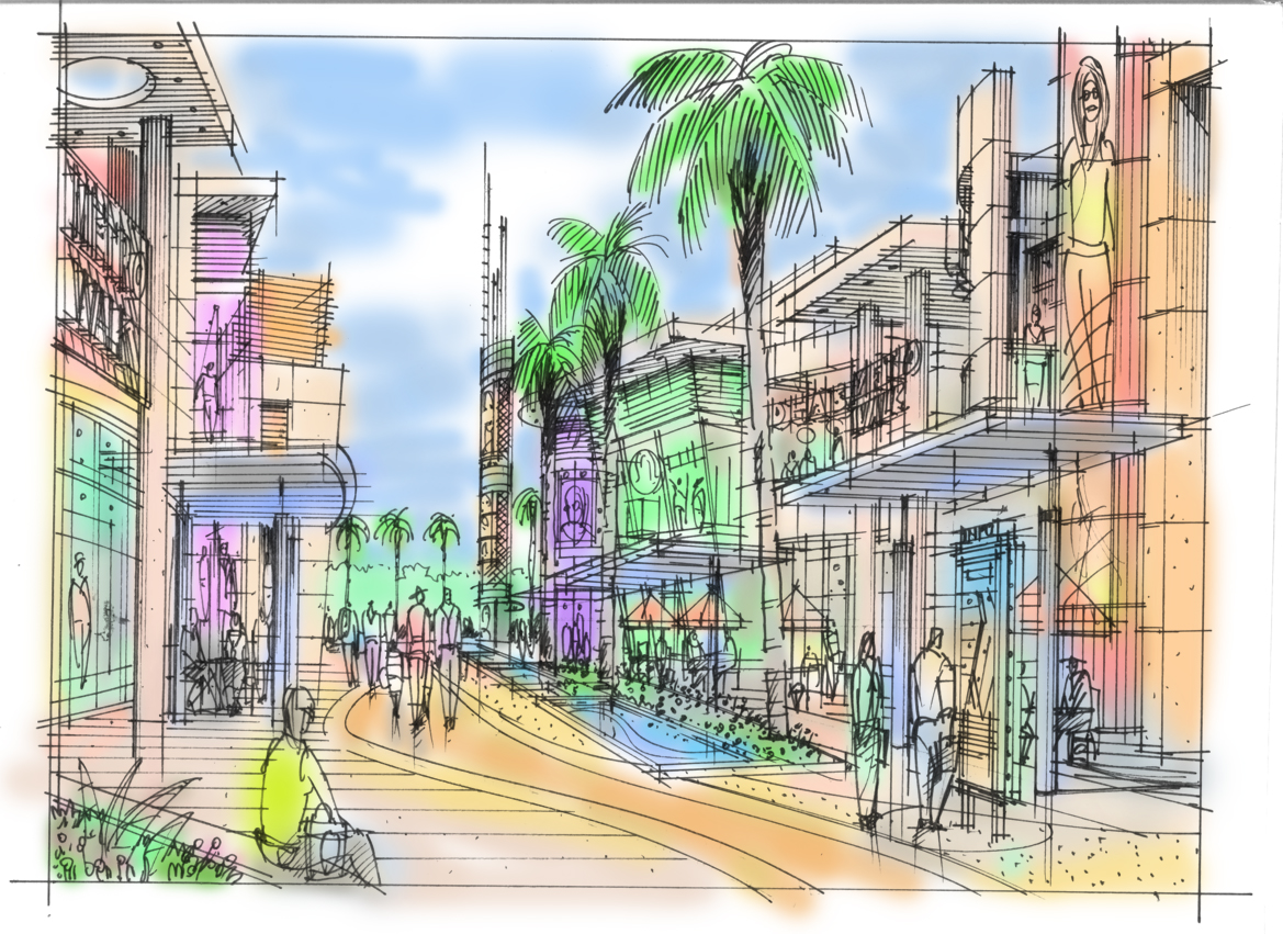 Theme Park Retail Street design sketch with Forrec.